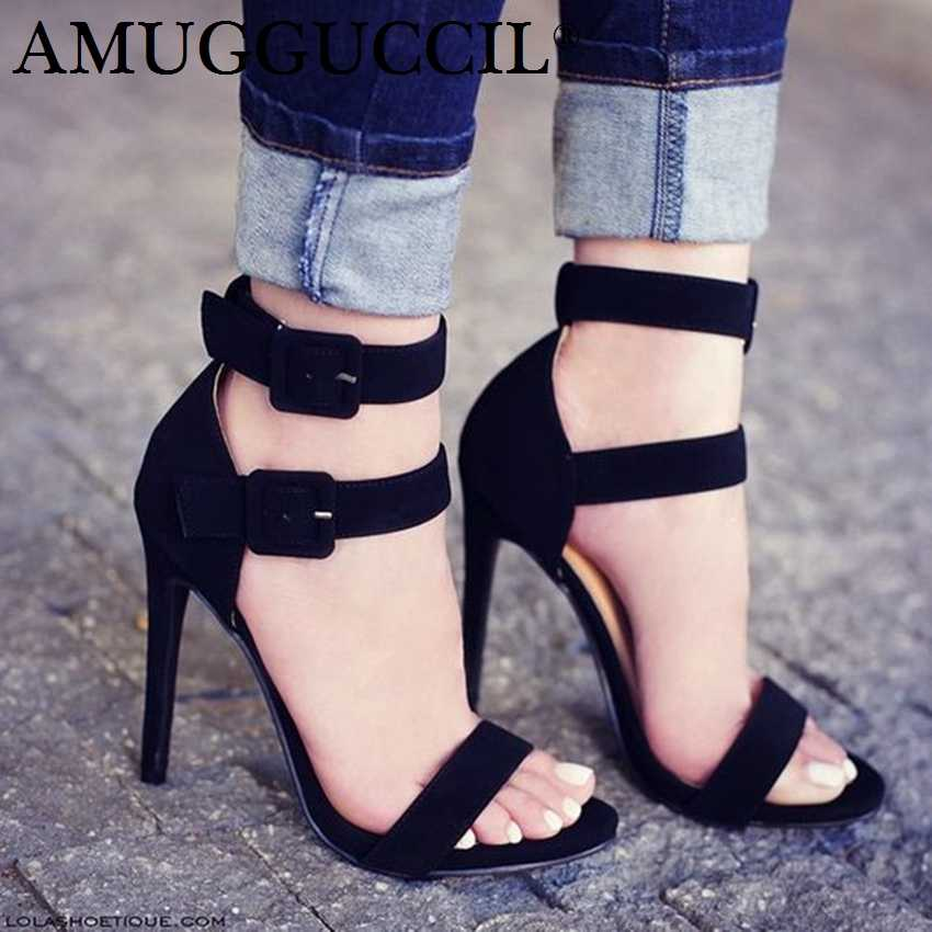 2019 New Plus Big Size 35-52 Black Buckle Fashion Sexy High Heel Summer Girl 68c06caf5eb6