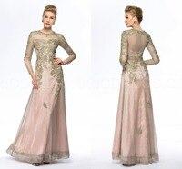 Оболочка длиной до пола золото мать невесты платья брючный костюм Большой размер жених с длинным рукавом невесты мать платья для свадеб