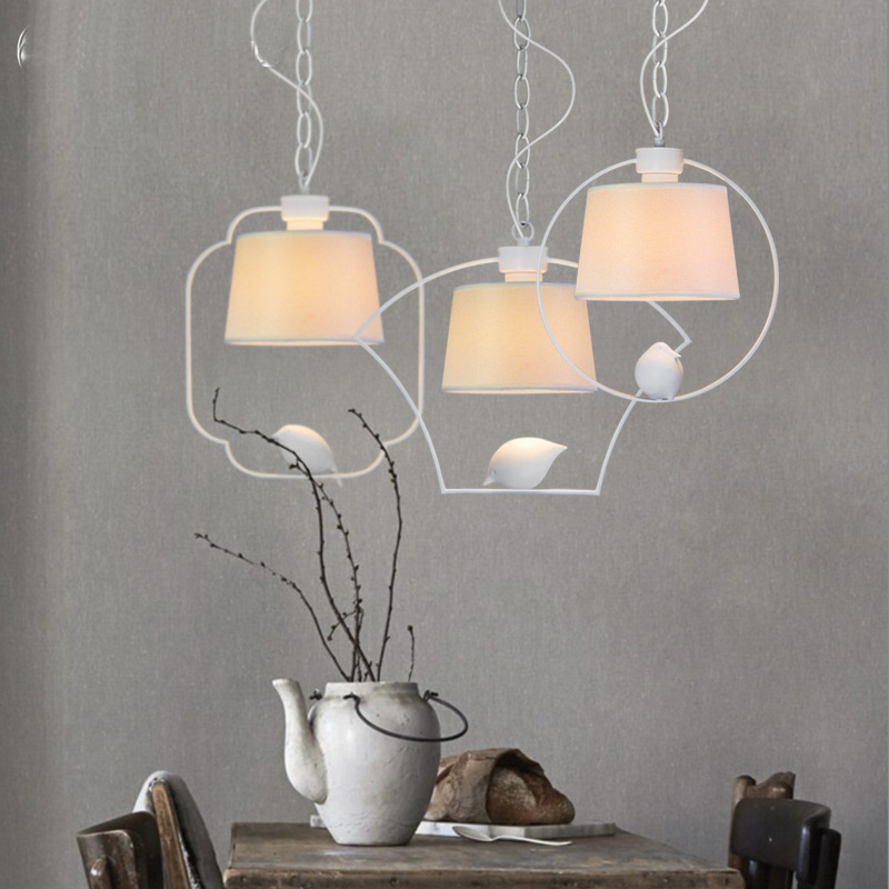 modern bird hanging lamp biege shade New Chinese Style Bedroom iron retro pendant lamp cafe dining living room pendant light LED точило gipfel 2917