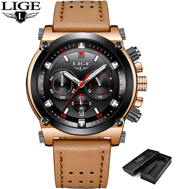 Relojes Hombre 2018New LIGE Mens Watches Top Brand Luxury Male Quartz WristWatch Military Waterproof Sport Leather Watch Men+Box mens watches oulm top brand luxury military quartz watch unique 3 small dials leather strap male wristwatch relojes hombre