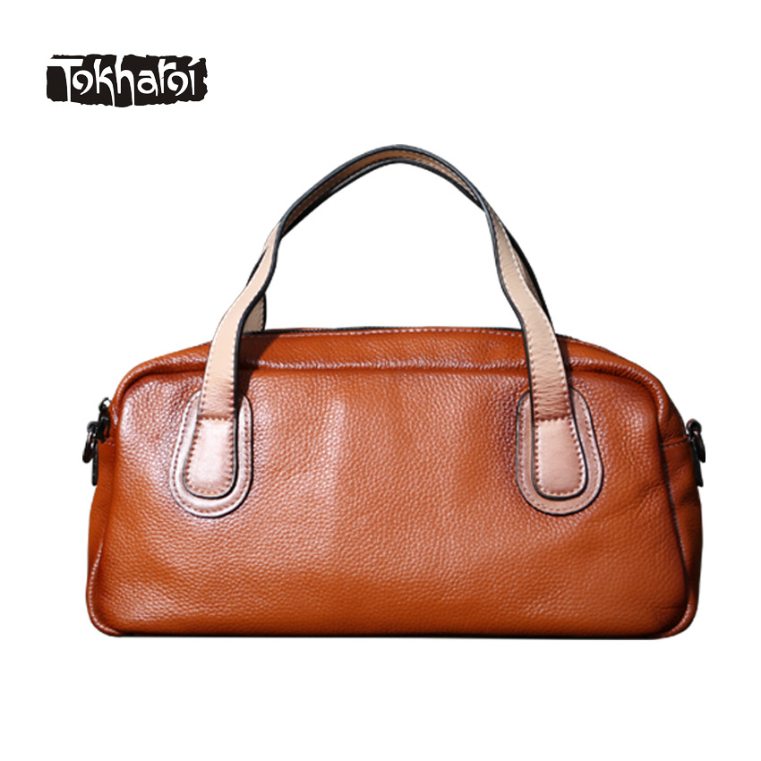 Tokharoi Brand Women Genuine Leather Shoulder Bags Top Quality Handbag Solid Vintage Style Casual Tote Famous Original Design