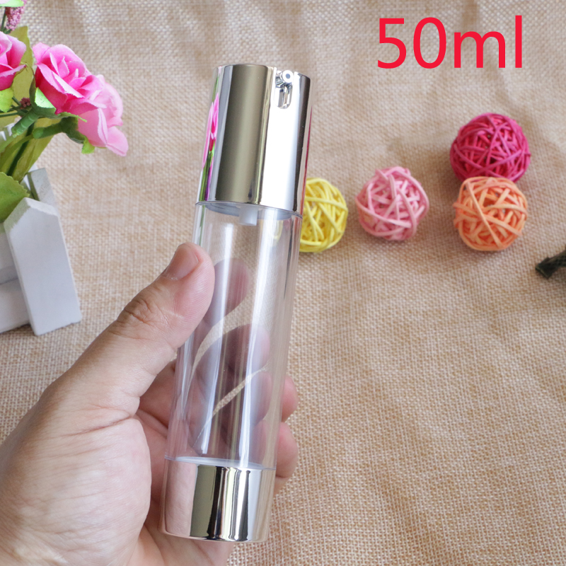 Купить с кэшбэком Makeup Beauty 15ml 30ml 50ml Empty Airless Vacuum Plastic Bottles Gold Silver Cosmetic Travel Liquid Refillable Bottles 10pcs