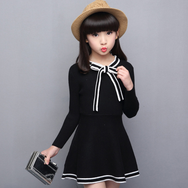 Teenagers Baby Girl Clothing Solid Sweater Dresses For 5 6 7 8 9 10 11 12 13 Years School Wear Autumn Long Sleeve Kids Dress 5 6 7 8 9 10 11 12 13 14 15 years children clothing set teenage girls fashion clothes autumn wear long sleeve sweatshirt skirt
