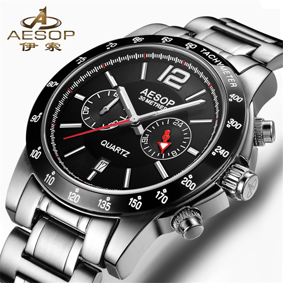 Aesop Top Brand Business Quartz Watches Men Stainless Steel Band 30m Waterproof Sapphire Mens Quartz-Watch Male Wrist watches nibosi top brand business quartz watches men stainless steel band 30m waterproof luminous mens quartz watch male wrist watches