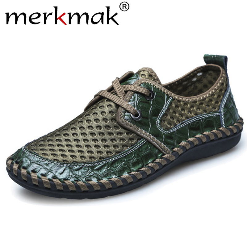 Merkmak Summer Men Casual Shoes Fashion Mesh Hollow Breathable Leather Male Shoes Lace Up Large Size 38-48 Men Sneakers Flats