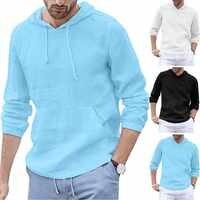 European yard Men's Baggy Cotton Linen Hooded Pocket Solid Long Sleeve Retro Shirts Tops40 Drop shipping