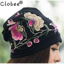 Cheap-clothes-China 2017 mujeres Otoño Invierno Estilo Vintage hippie Negro  Azul flores bordados sombrero skullies gorros c3a2976e9d3