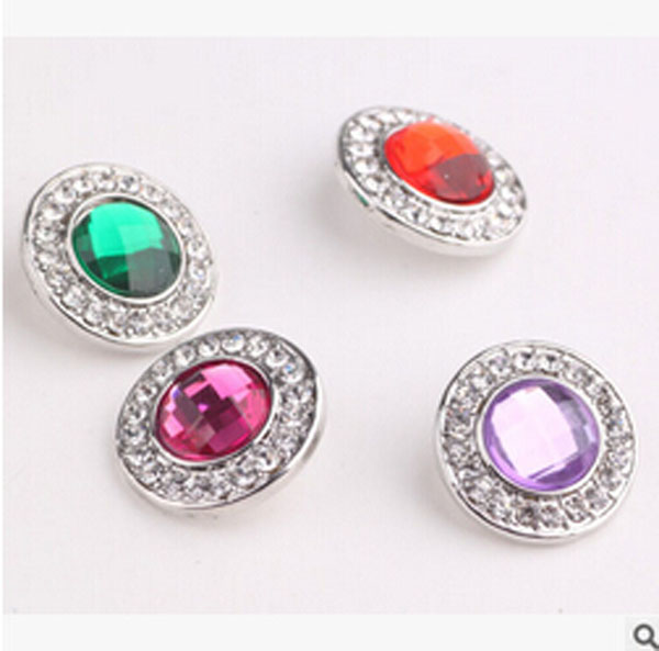 2016 new 10pcs/lot mix colors18mm rhinestone snap new button jewerly fit leather snap jewelry bracelets for women