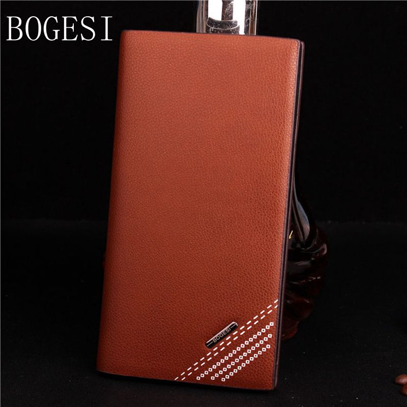 BOGESI Luxury Brand PU Leather Men Wallets Coin Pocket Card Holder Long Wallet Men's Leather Wallet with Casual Purse Clutch Bag