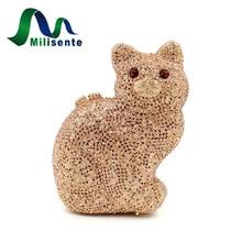 Milisente neue frauen hohe qualität kristall handtaschen cat form party kupplungen bankett taschen drop verschiffen gold