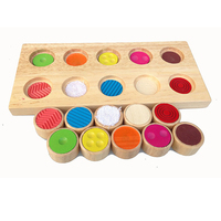 Montessori Toys Educational Wooden Toys for Children Early Learning Texture Matching Cylinders Board Preschool Education