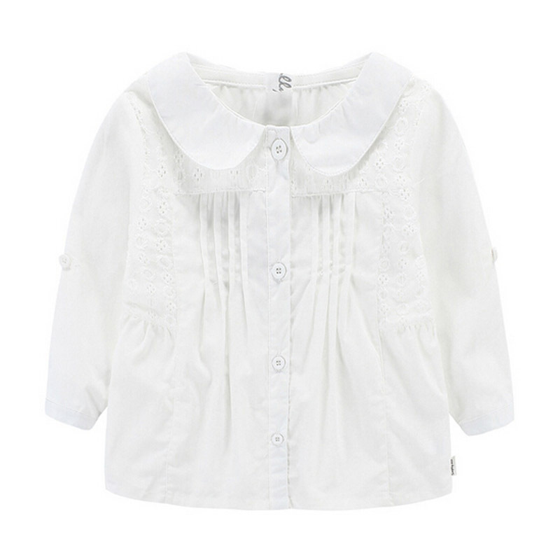 Girl White Blouses 2015 Solid Long-Sleeve Shirts School Girl Blouses 100% Cotton Spring&Autumn Casual Shirt Girl Clothes