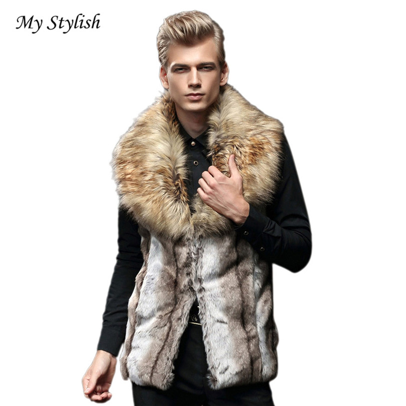 Men Coat 2018 New Fashion Men Faux Fur Vest Jacket Sleeveless Winter Body Warm Coat Long Waistcoat Gilet High QualityDec 16