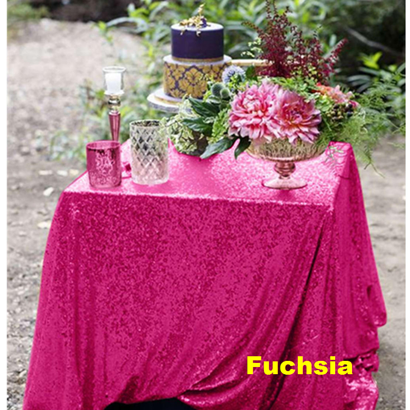 Fuchsia Sequin Tablecloth 60x102in Shiny Rectangular Embroidered Tablecover for Wedding Party Christmas Decoration -