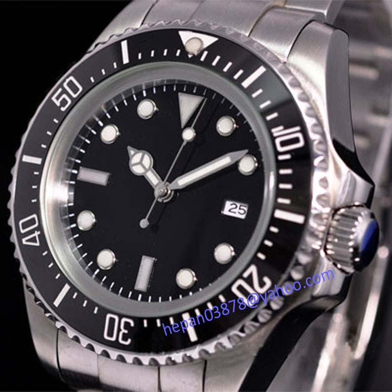 Parnis watch 44mm Sterile black dial luminous Ceramic Bezel SEA Homage Automatic movement Men s watch