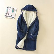 2016 women New Winter Plus Velvet Thick Lamb's Wool Cotton Denim Jacket Korean Long Section hooded cowboy Padded coat F3789