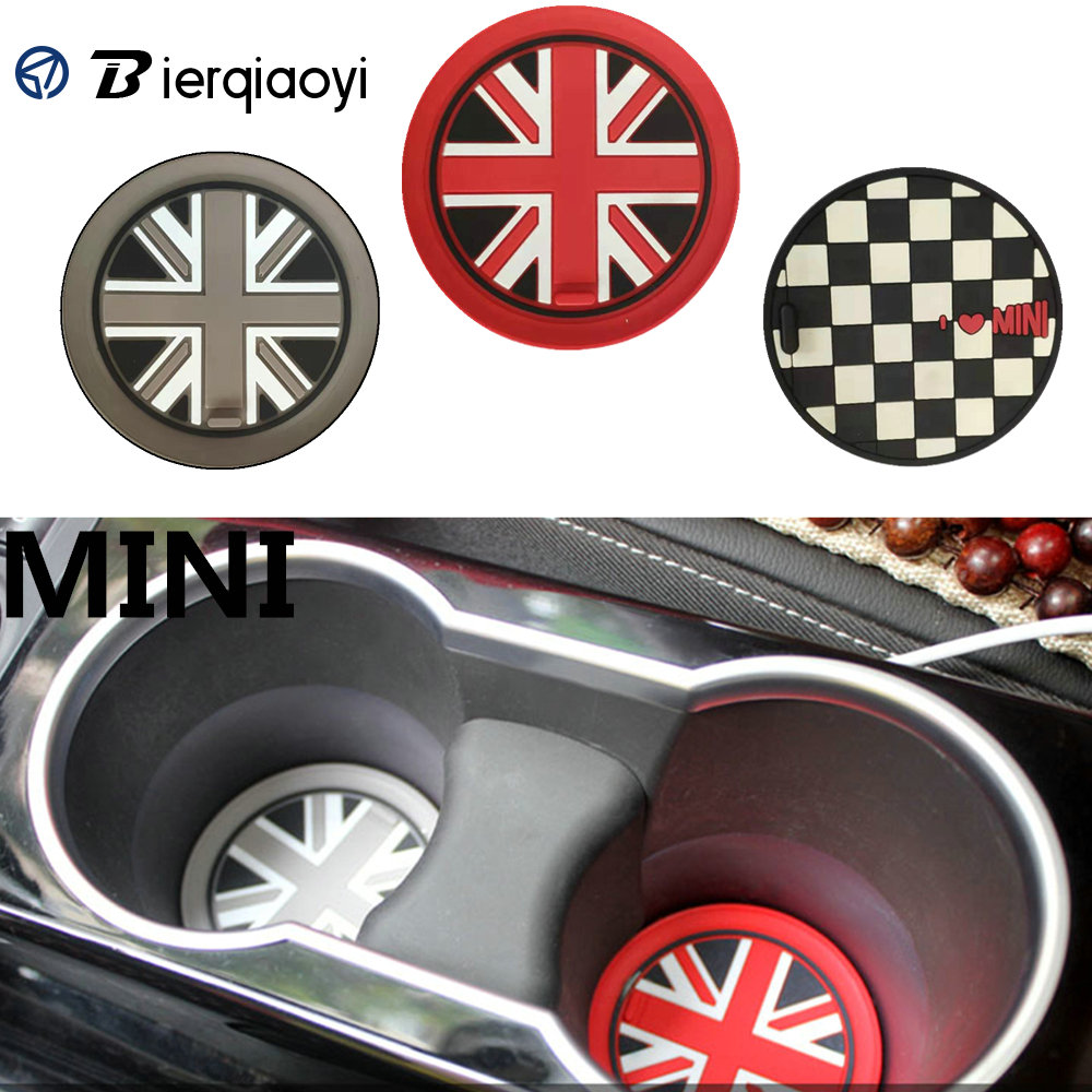 For MINI Cooper R60 R56 R50 R53 R55 F55 F56 Car Sticker Water Cup Holder Pad Mat For MINI F60 Countryman F54 Clubman Accessories