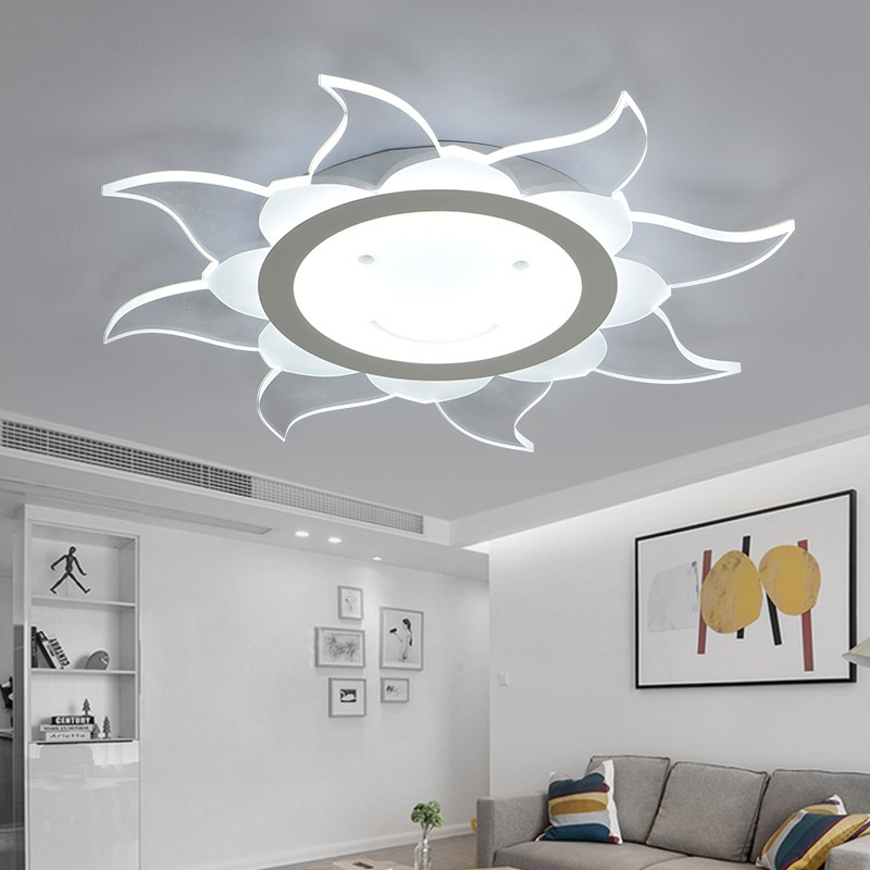 Creative Sunflower Smiley Acrylic Ceiling Light Slim LED Bedroom Living Room Balcony Child Ceiling Lamp Commercial Lighting vemma acrylic minimalist modern led ceiling lamps kitchen bathroom bedroom balcony corridor lamp lighting study