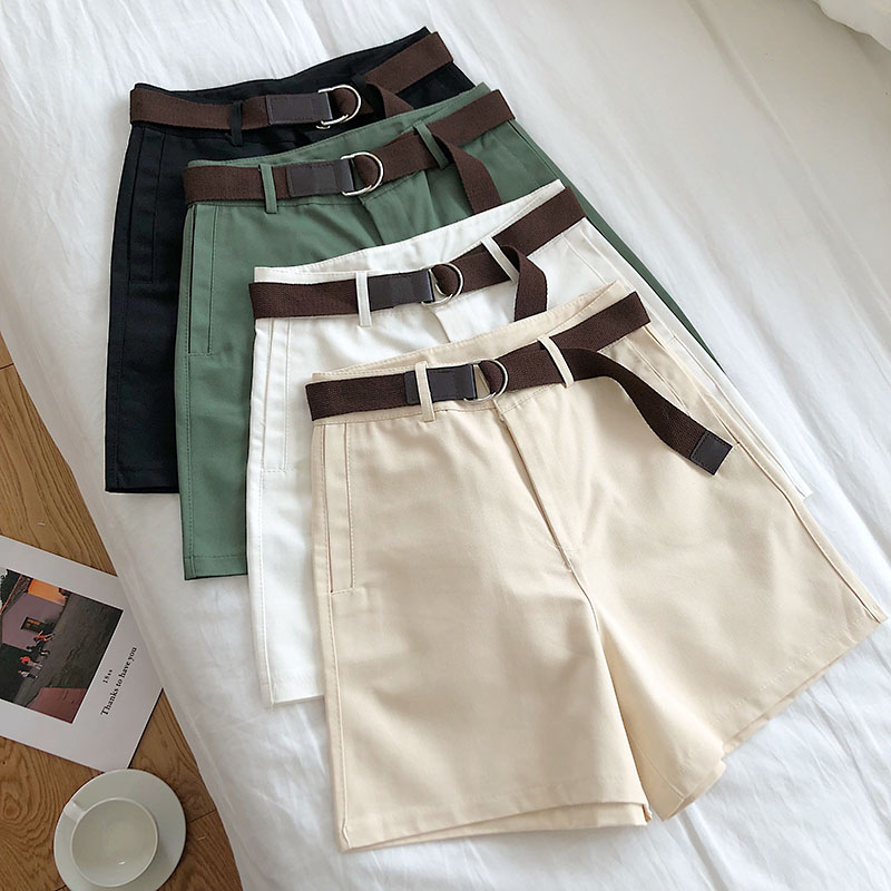 2019 New All-match Solid Sashes Women Shorts Casual A-line High Waist Shorts Summer Safari Style Slim Loose Wide Leg Shorts M650