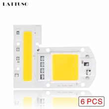 LAN MU 6PCS LED COB Chip 110V 220V 10W 20W 30W 50W 70W 100W 120W 150W LED Bulb Lamp Input Smart IC Flood Light Spotlight 10pcs lot led lamp 220v cob chip overvoltage protection smart ic no driver 50w light beads for diy spotlight downlight