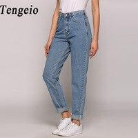 Tengeio 2017 أزياء الصيف صديقها الجينز للنساء خمر عالية الخصر زر غسلها الأزرق الدينيم طويل الحريم الجينز فام 210