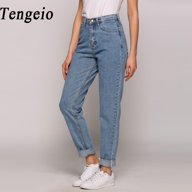 tengeio 2017 mode d 39 t boyfriend jeans pour femmes vintage taille haute lav bouton bleu denim. Black Bedroom Furniture Sets. Home Design Ideas