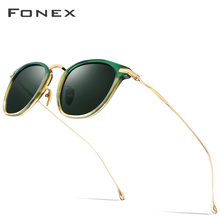 FONEX Pure B Titanium Acetate Polarized Sunglasses Men 2019 New Fashion Brand Designer Vintage Square Sun Glasses for Women T839