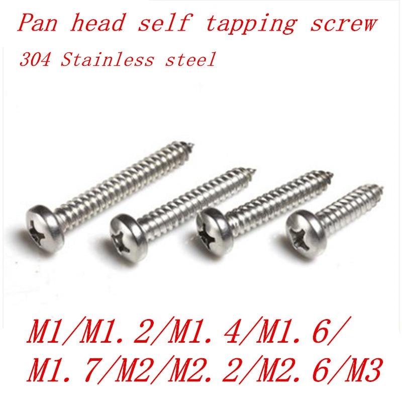 100PCS Stainless steel pan head tapping screw M1 m1.2 m1.4 m1.7 m2 m2.3 M2.6 m3 electronic screw phillips tapping screw цена 2017
