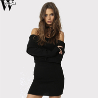WYHHCJ 2017 Warm Off Shoulder Autumn And Winter Sweater Long Sleeve Slash Knit Women Sweater Casual
