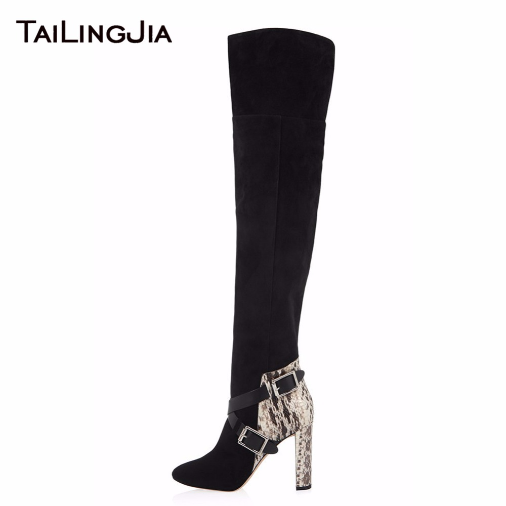 Snake Fabric Mixed Black Faux Suede Woman Fashion Knee Boots Ladies Keep Warm Winter Boots With Fur High Heel Pointed Toe BootsSnake Fabric Mixed Black Faux Suede Woman Fashion Knee Boots Ladies Keep Warm Winter Boots With Fur High Heel Pointed Toe Boots