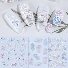 5D Embossed Nail Decals Empaistic Water Transfer Stickers Adhesive Flowers Blooming Nail Sliders Decorations Fashion Tips TR1019