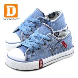 الدنيم الجينز الأطفال أحذية قماش أحذية أطفال جديد 2019 الربيع العلامة التجارية موضة البريدي تنفس المطاط وحيد الفتيات الفتيان أحذية رياضية