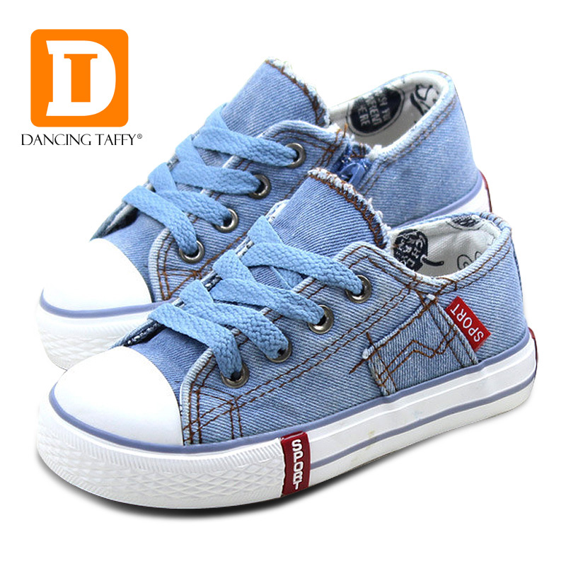 Denim Jeans Buty dziecięce Canvas Kids Shoes New 2019 Spring Brand Fashion Zip Oddychająca gumowa podeszwa Girls Boys Sneakers