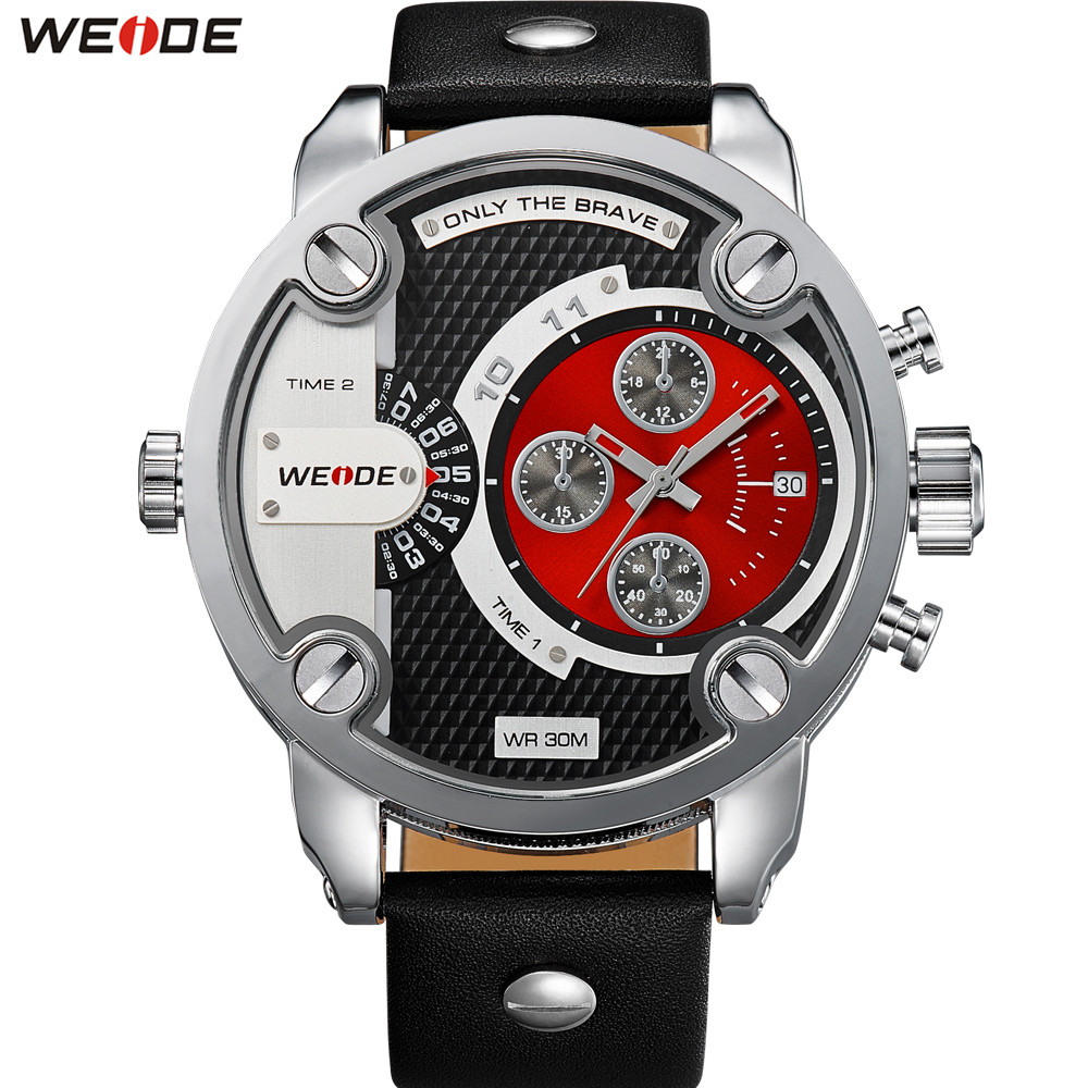 Original Fashion Brand WEIDE Dress Watch Men Quartz Dual Time Zone Watch Leather Strap Red Dial Wristwatches Relogios Masculinos weide watch men sport waterproof relogios masculinos de luxo original diving watch unique multiple time zone wrist watch men