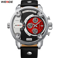 Original Fashion Brand WEIDE Dress Watch Men Quartz Dual Time Zone Watch Leather Strap Red Dial Wristwatches Relogios Masculinos