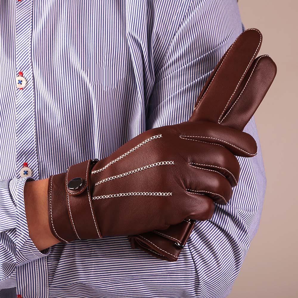 KURSHEUEL Καλύτερη Πολυτελή Touchscreen Ιταλικά Nappa Δερμάτινα Γάντια για Άντρες Texting οδήγηση Cashmere Επένδυση