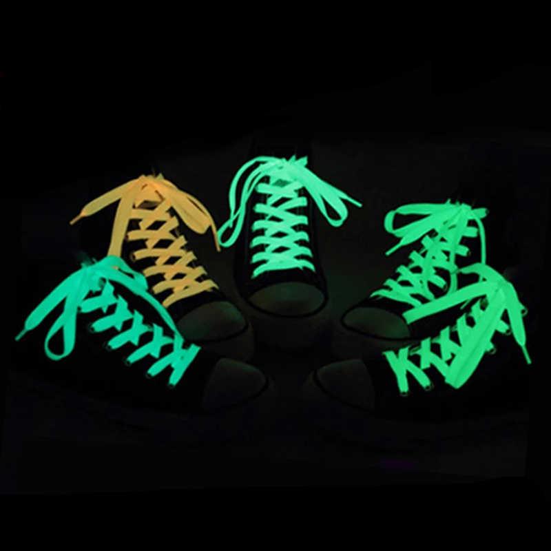 1 par 120cm luminosos los cordones de los zapatos deportivos deporte Cordón de zapato resplandor en el oscuro color de la noche fluorescente Cordón de zapato s zapatillas accesorios