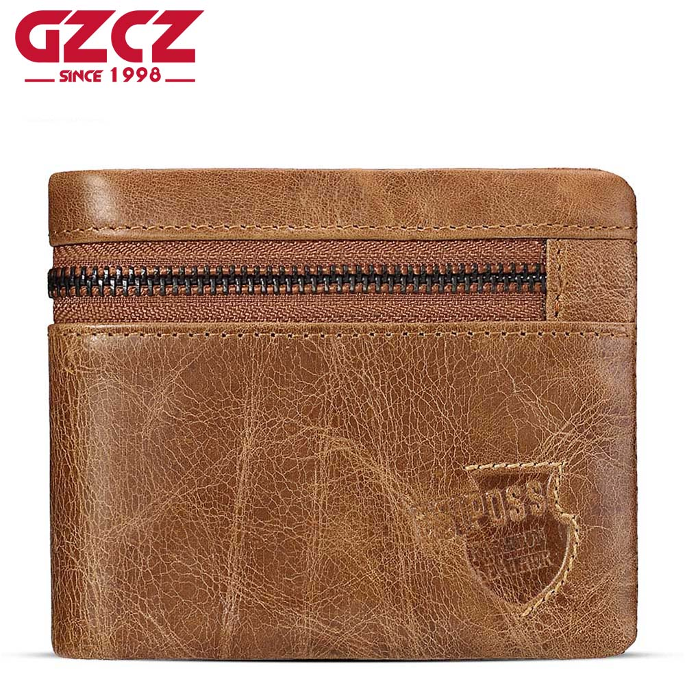 GZCZ Genuine Cow Leather Mens Wallets Brand Zipper Design Bifold Short Men Purse Male Clutch with Card Holder Coins Purses Walet