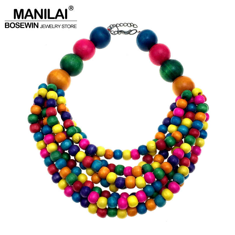 MANILAI Fashion Bohemia Multi-layers Beaded Statement Necklace Woman Handmade Multi color Wood Bead Chokers Necklace Jewelry