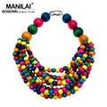 MANILAI Fashion Bohemia Multi-layers Beaded Statement Necklace Woman Handmade Multi color Wood Bead Chokers Necklace Jewelry