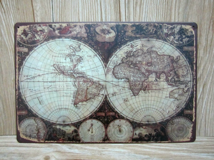 New 2015 vintage tin signs the world map a 0224 metal painting home new 2015 vintage tin signs the world map a 0224 metal painting home decorative wall art craft for bar poster 20x30cm in plaques signs from home garden gumiabroncs Image collections