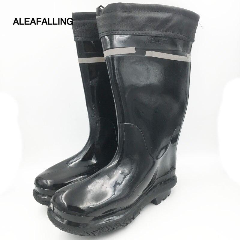 Aleafalling Männer Schwarz Bergbau Stiefel Nicht-slip Sicherheit Tragen-beständig Dicke Baumwolle Deckt Regen Stiefel Pvc Stiefel Schuhe M047 Um Jeden Preis