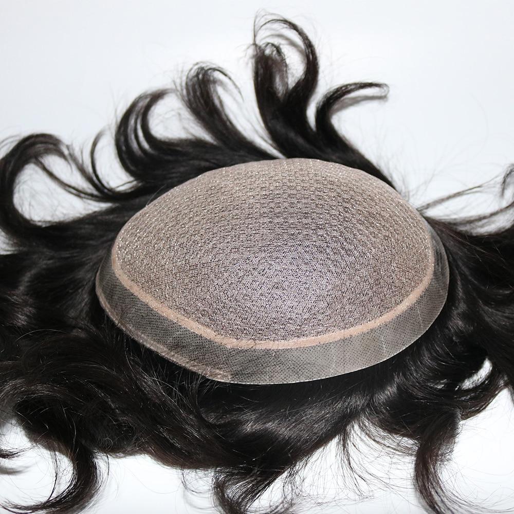 Image 5 - Eversilky шелковая основа с поли вокруг Мужчин Toupee натуральная кожа головы выглядит отбеленные узлы натуральные волосы Замена парик парикиПарики    АлиЭкспресс
