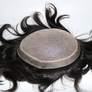 Image 5 - Eversilky משי בסיס עם פולי סביב גברים פאה טבעי קרקפת למראה מולבן קשרים טבעי החלפת שיער פאה פאות
