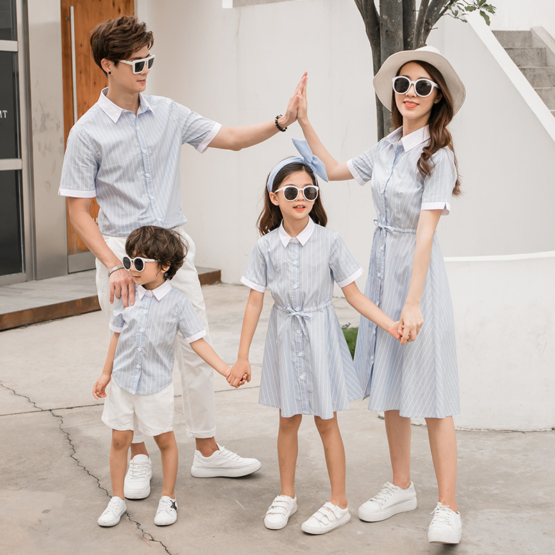Family Matching Clothes Mother And Daughter Dress Father Son Shirt Clothes Family Look 2019 Summer Fashion Children Striped Tops