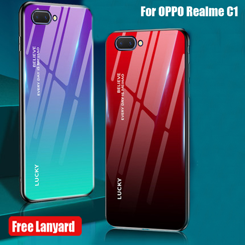 6.2inch For OPPO Realme C1 Mobile Phone case For OPPO Realme C 1 tempered glass back cover Real me C1 c1 glass cases coque shell