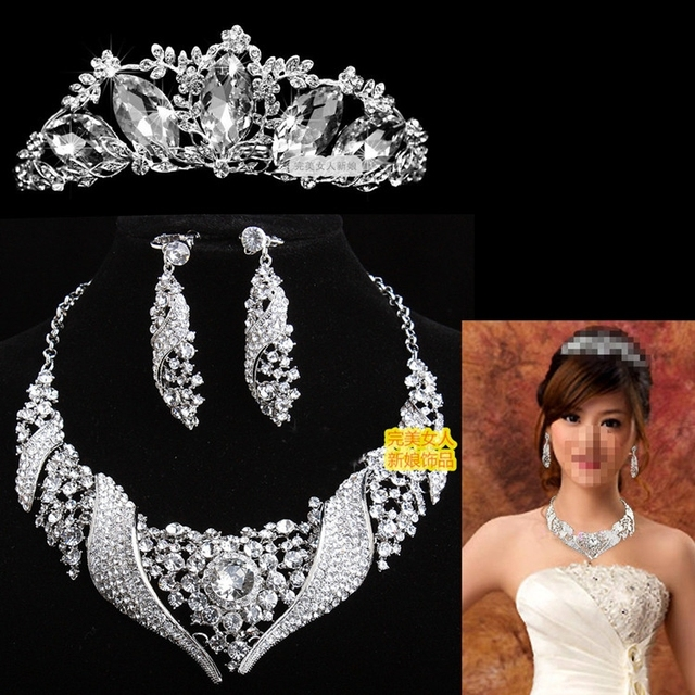 Grande de la aleación rhinestone Boda Joyería Nupcial Conjunto tiara chocker pendientes necklacce clásico accesorios de la boda