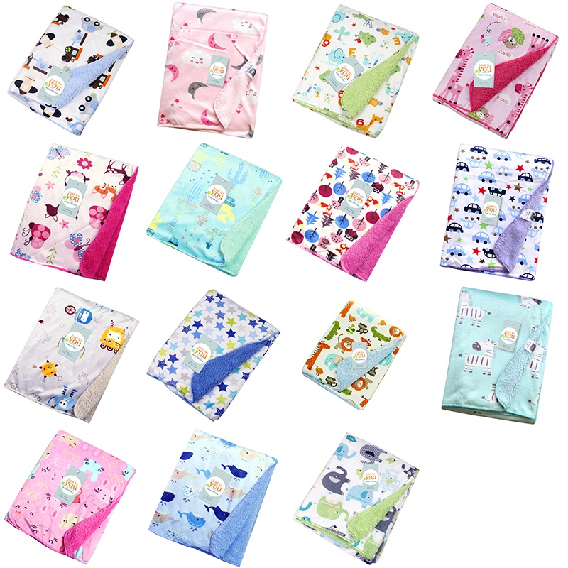 102*76cm Newborn Baby Blankets Cotton Double Thick Padded Swaddles Baby Bath Towel Cartoon Soft Autumn Winter Infant Blanket