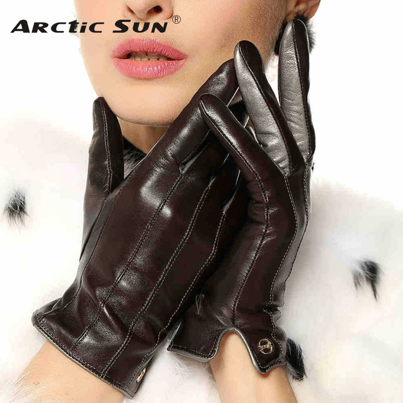 Top Quality Women Gloves Wrist Short Genuine Leather Glove Female Winter Thermal Sheepskin For Driving Free Shipping EL031NR