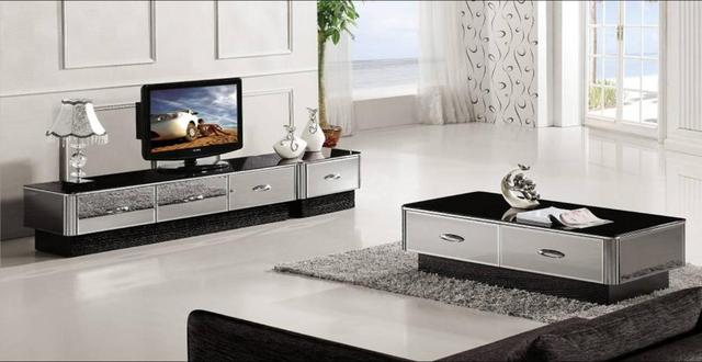 Modern Gray Mirror Furniture Coffee TableTV Cabinet And Drawer Set Grand